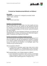Protokoll der Stadtteilwerkstatt Millrath und Willbeck - Zukunft Erkrath