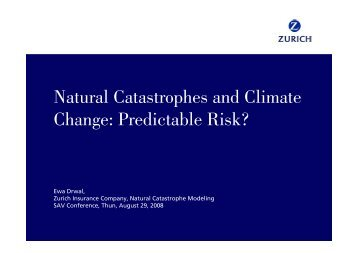 Natural Catastrophes and Climate Change: Predictable Risk?