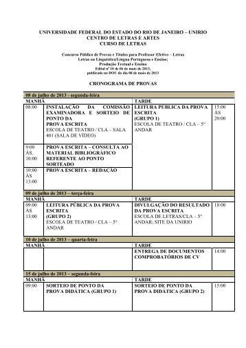 Cronograma das Provas - Unirio