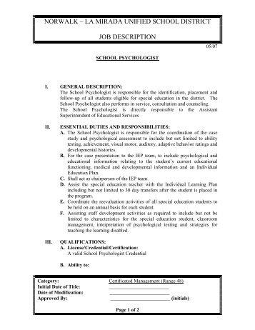 School Psychologist Job Description   Norwalk La Mirada Unified .