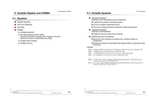 D Verteilte Objekte und CORBA D.2 Verteilte Systeme
