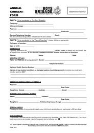 ANNUAL CONSENT FORM - The Boys' Brigade