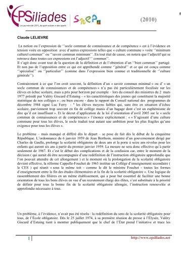 Intervention de Claude Lelièvre - Le SNEP