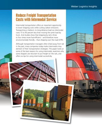 Reduce Costs with Intermodal - Weber Logistics