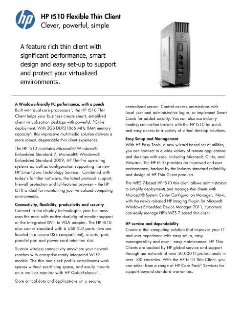 HP t510 Thin Client Datasheet