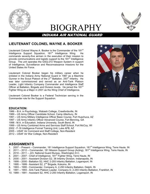 Lt  Col  Wayne A  Booker - 181st Intelligence Wing, Indiana