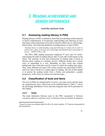2 READING ACHIEVEMENT AND GENDER DIFFERENCES - Pisa