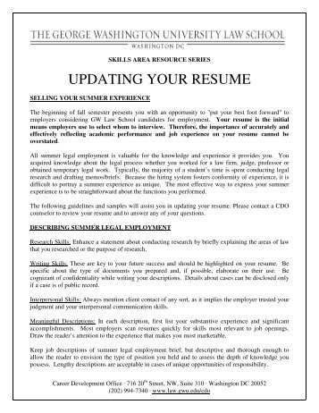 Resume Samples UVA Career Center  George Washington Resume