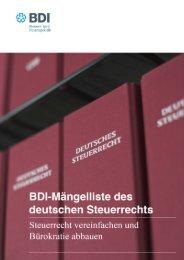 BDI Mängelliste des deutschen Steuerrechts