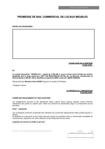 promesse de bail commercial de locaux meubles - Haussmann ...