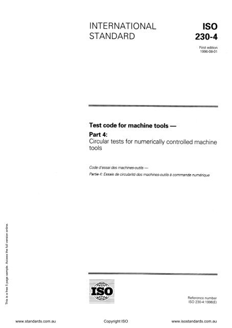 Test code for machine tools - Part 4: Circular tests for