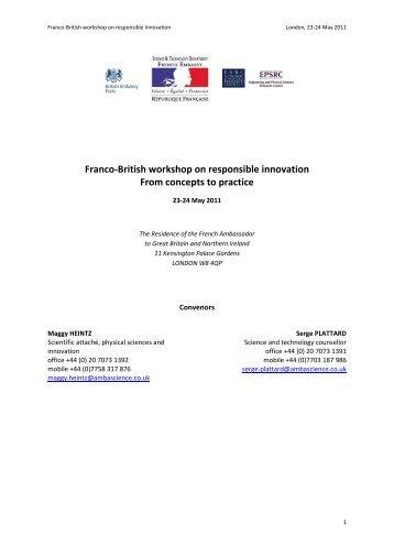 Draft Outline For Responsible Innovation Workshop, April / May 2011