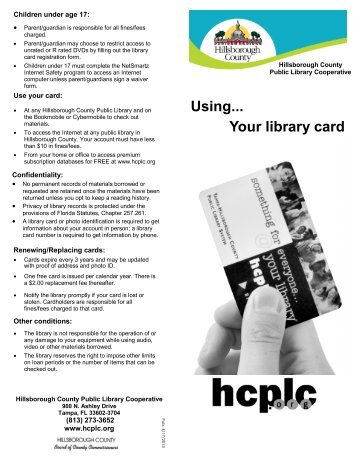 Using Your...Library Card - Hillsborough County Public Library ...