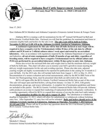 2013 Sale Nomination Forms - AL BCIA