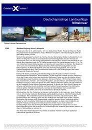 Deutschsprachige Landausflüge Mittelmeer - Celebrity Cruises