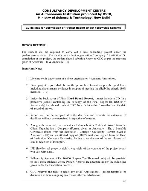 Guidelines section for submission of Project Reports  - Consultancy