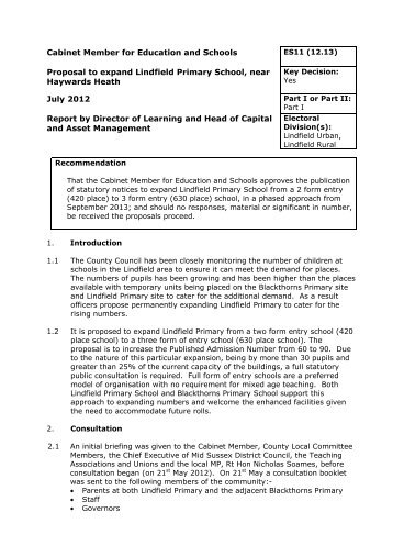 Proposal to expand Lindfield Primary - West Sussex County Council