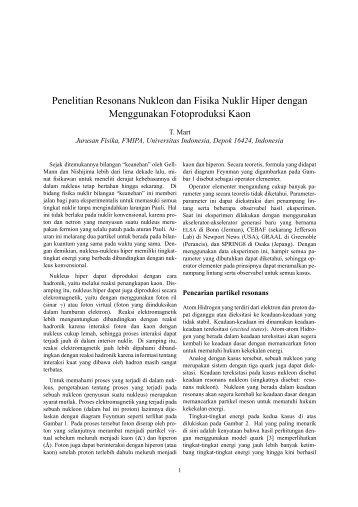 Penelitian Resonans Nukleon - Universitas Indonesia