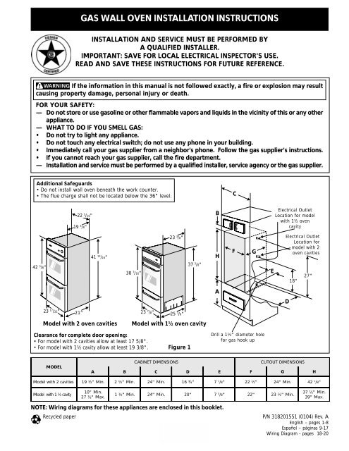 Excellent Gas Wall Oven Installation Instructions Appliances Wiring Cloud Hisonuggs Outletorg