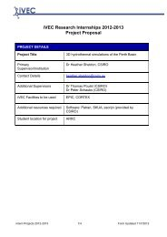 iVEC Research Internships 2012-2013 Project Proposal