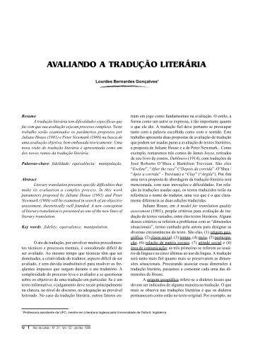 AVALIANDO A TRADUÇÃO LITERÁRIA - Revista de Letras