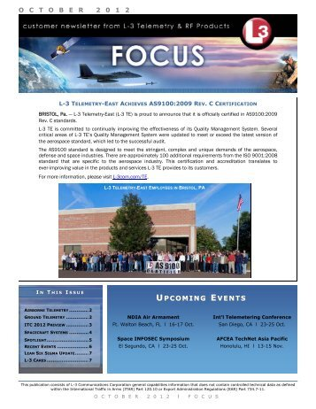 UPCOMING EVENTS - L-3 Communications