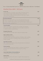 Breakfast Menu (0630 - 1145 hours)