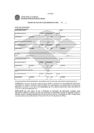 Anexo I: Termo de Doação e Recebimento (TDR)
