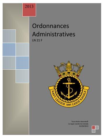 ordonnances administratives de la ligue navale - The Navy League ...