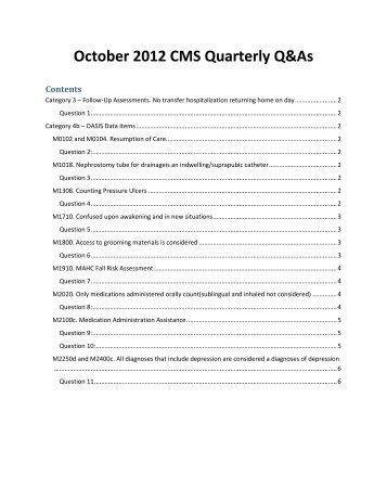 2012 October OASIS Q and As - Selman-Holman & Associates