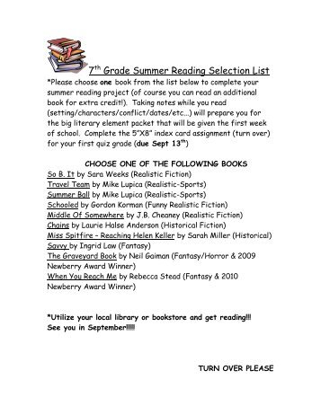 7th Grade Summer Reading Selection List