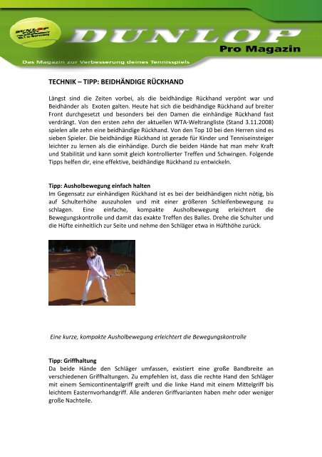 TECHNIK – TIPP: BEIDHÄNDIGE RÜCKHAND - Dunlop