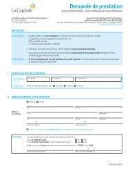Demande de prestation - La Capitale assurances générales