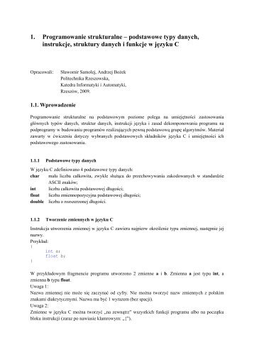 Podstawy programowania strukturalnego w języku C - Katedra ...