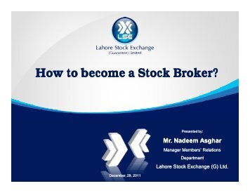 How to become a Stock Broker? - Lahore Stock Exchange