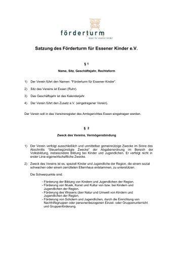 Satzung Förderturm in der F.v. 15.12.03 - förderturm - ideen für ...
