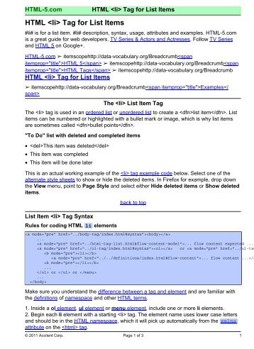 HTML  Tag for List Items - HTML 5 Reference for Web Designers