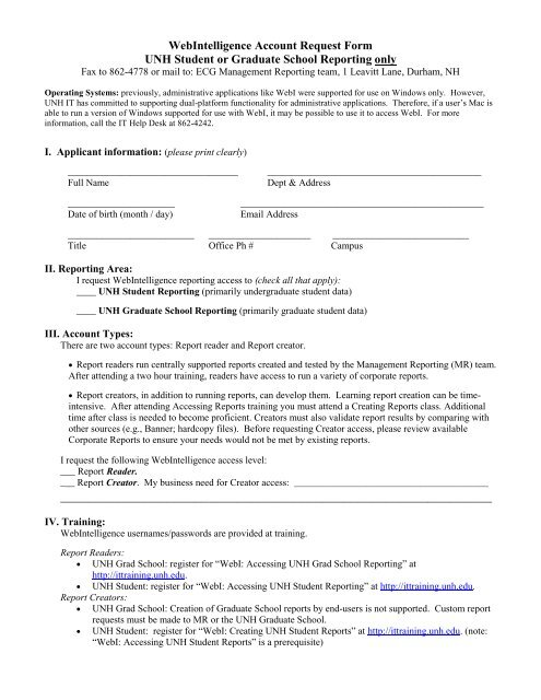 WebIntelligence Account Request Form UNH Student or     - It Unh