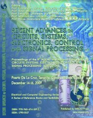 RECENT ADVANCES in CIRCUITS, SYSTEMS ... - Wseas.us