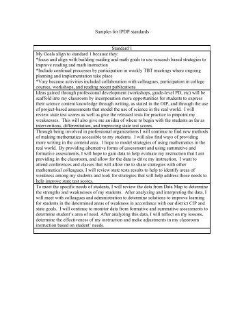 Sample IPDP Standards Goals
