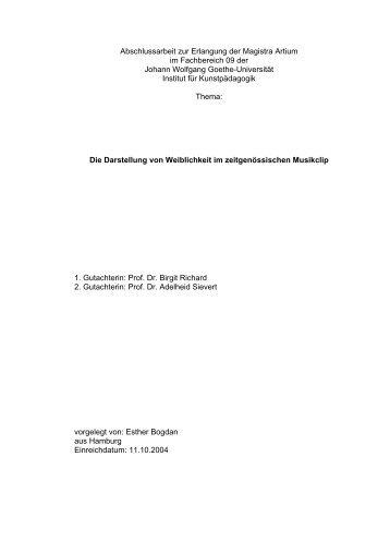 Abschlussarbeit zur Erlangung der Magistra Artium ... - Birgit Richard