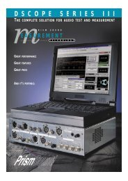 dScope Series III - Test and Measurement - Prism Sound