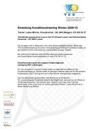 Einteilung Konditionstraining Winter 2009/10 - Tennis Zentralschweiz