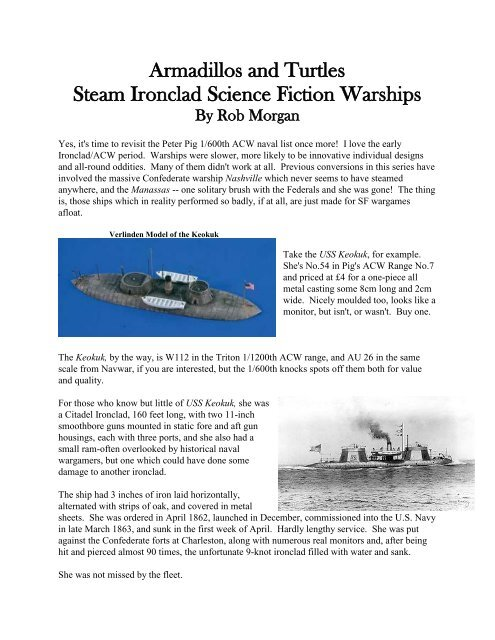 Armadillos and Turtles Steam Ironclad Science     - Lone Warrior Blog