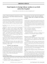 Hand injuries in foreign labour workers in an Irish university hospital