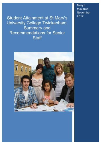 Student Attainment at St Mary's University College Twickenham ...