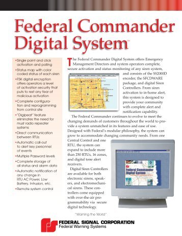 Federal Commander Digital System™ - Federal Signal