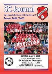 Sportheft des SC Hofstetten - +++ Sport Club Kappel am Rhein +++