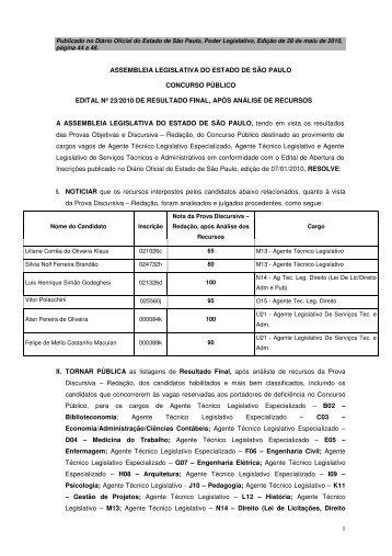 Edital Nº 23 de 2010 - Resultado final após Recursos - ALSTA - ATL