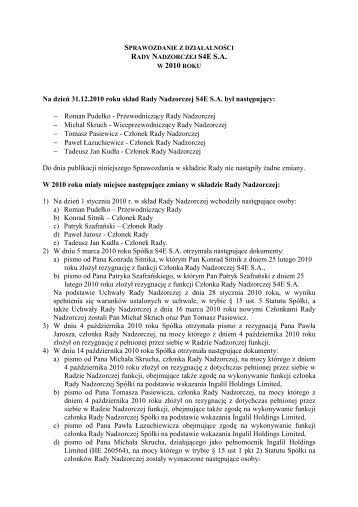 Sprawozdanie z działalności Rady Nadzorczej S4E S.A. za 2010 rok